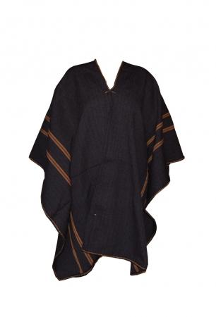 Poncho (schwarz mit brauen Streifen)
