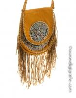 American Indian fringed bag light brown